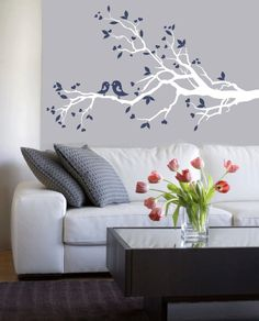 Wall Decal Modern decals -  white tree branch with birds - vinyl wall decal.