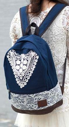 Blue lace backpack