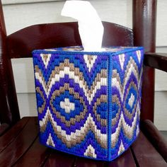 Bargello Blue Brown Purple Tissue Box Cover by TissueMart on Etsy, $18.00