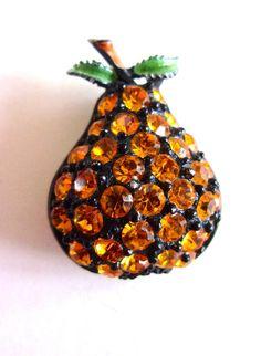 Pear Fruit Rhinestone JJ Brooch-Pin Enamel by RenaissanceFair