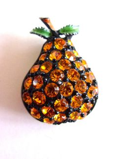 Pear Fruit Rhinestone Brooch-Pin by JJ Enamel by RenaissanceFair