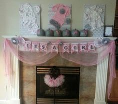 Beautiful pink and grey shower decor