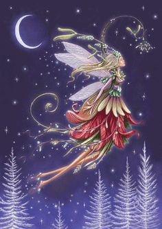 Christmas fairy at night. Illustration Noel, Christmas Illustration, Christmas Fairy, Christmas Scenes, Christmas Holidays, Xmas, Illustrator, Kobold, Theme Noel