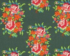 Patchworkstoff DOWRY, Raster-Blumen, tannengrün-orange