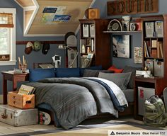 Love The Platform Bed Surrounded By Cushions. LOVE The Wall Color!  *Benjamin Moore Blue Heron #832 Really Like The Quilt For A Teenage Boy.