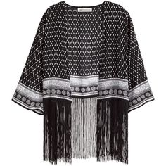 H&M Fringed kimono (£10) ❤ liked on Polyvore featuring kimono, outerwear, cardigans, jackets and black