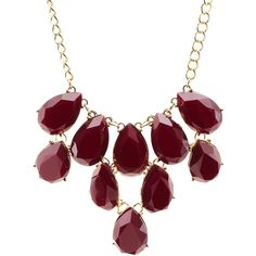 Charlotte Russe Faceted Stone Statement Necklace (£4.10) ❤ liked on Polyvore featuring jewelry, necklaces, red, red statement necklace, bib necklace, red bib necklace, bib statement necklace and charlotte russe