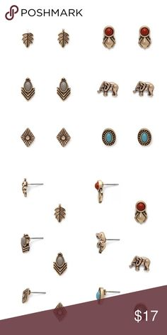 6 sets of fun earring studs Mix and match depends on your mood everyday. Jewelry Earrings
