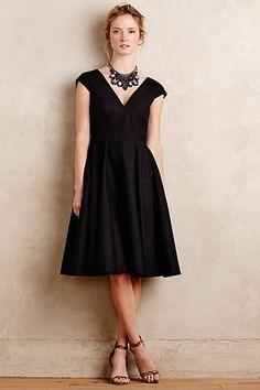 Anthropologie EU Paimpont Flared Silk Dress, Black