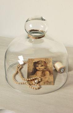 Brocante glazen stolp - oude prent