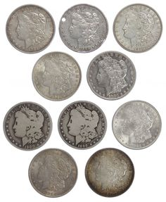 Lot 28: Morgan $1 Assortment; Ten coins including 1880-S, 1890-O, a drilled 1898, 1900-O, (4) 1921 and (2) 1921-D