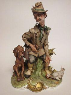 Vtg Capodimonte Giuseppe Cappa The Reproachful Hunter Figure w/ Dog Sculpture