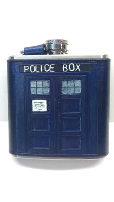 TARDIS Flask  Bigger on the inside by marotteleather on Etsy, $60.00