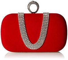 Chicastic Wine Red Suede Rhinestone Studded One Ring Knuckle Duster Style Minaudiere Evening Cocktail Clutch Bag: Handbags: Amazon.com