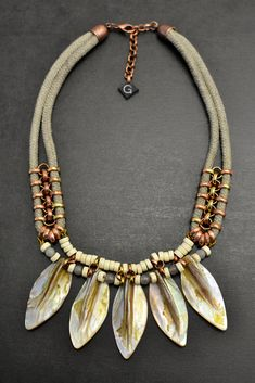 Beaded Shell Statement Necklace, Mother of Pearl Fan Necklace, Rope and Wooden Beads Necklace, Grey and Beige by gudbling on Etsy
