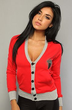 The Medusa Cardigan in Red by Crooks and Castles