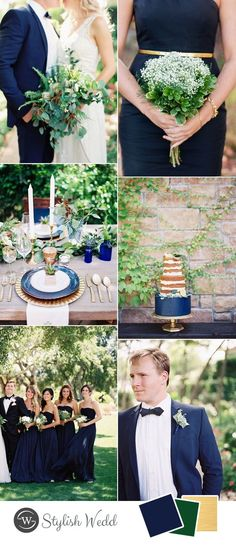 fresh blue and greenery wedding color ideas