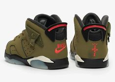 """Even the babies get their own stow pockets! The Travis Scott x Air Jordan 6 """"Travis Scott"""" is releasing on October For a detailed look, store list, and full unboxing video, hit the link in our bio. Travis Scott, Kylie Jenner, Behind The Scenes, Air Jordans, Kids Fashion, Baby Shoes, Sneakers Nike, Product Launch, Footwear"""