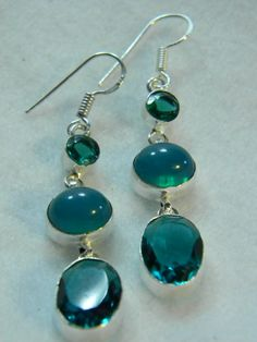 Teal Quartz and Chalcedony Earrings in by Eclecticuniquejewels, $29.95