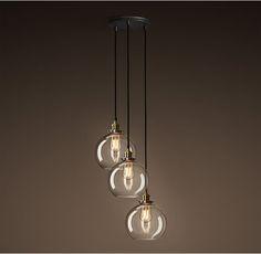 20th C. Factory Filament Clear Glass Café Round Pendant