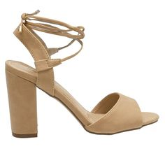 Patty-22 Natural Tie-Up Mid Block Heels