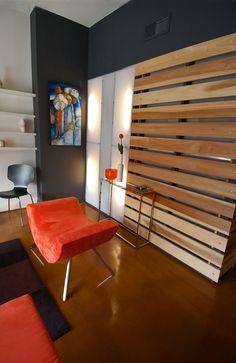 Poplar Slat Wall/Room Divider and Light Wall inspiration...