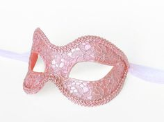 Pink Masquerade Mask Covered With Lace Venetian by SOFFITTA