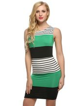 Women Sleeveless Striped Contrast Color Patchwork Dress Hot //FREE Shipping Worldwide //