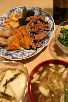 dinner on Mon. 2nd Mar. 2015: braised pumpkin, beef, Kon'nyaku, Aburaagé & kelp, boiled rape blossoms by Japanese mustard & soy sauce, miso soup with Maikaté mushroom & Japanese leek, pickled radish, red wine then green tea