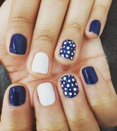 A manicure is a cosmetic elegance therapy for the finger nails and hands. A manicure could deal with just the Dot Nail Art, Polka Dot Nails, Polka Dot Pedicure, Polka Dots, Navy Nail Art, Gorgeous Nails, Pretty Nails, Fancy Nails, My Nails