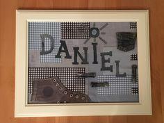 Cuadro collage que hemos hecho reciclando trozos de tela y medio tenis que tenía en casa.