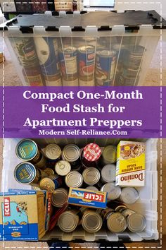 One month food for one person in a compact way for apartment preppers looking for food storage solutions.