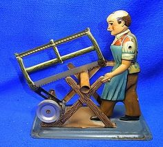 Vintage German US Zone Tin Toy Steam Engine Drive Model Man Saws Wood