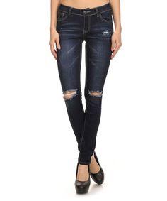 Indigo Rock & Royal Distressed Skinny Jeans