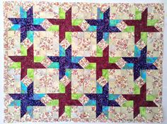 Quilt Top Unfinished, Quilt Top for Sale, Star Quilt, Dog Quilt, Star Throw, Blanket for Sale, Blue Quilt, Flower Quilt, Baby Quilt Top by HappyGoQuilting on Etsy