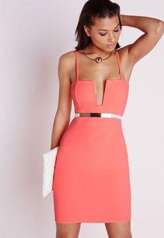 Strappy Square Neck Bodycon Dress Neon Coral - Dresses - Bodycon Dresses - Missguided