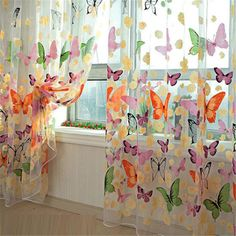 Butterfly Print Sheer Curtain Panel Window Balcony Tulle Room Divider Pelmets in Home, Furniture & DIY, Curtains & Blinds, Curtains & Pelmets | eBay