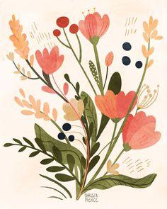 Feb 2020 - Pink Floral Bouquet - Vertical Print, floral, feminine, home, decor