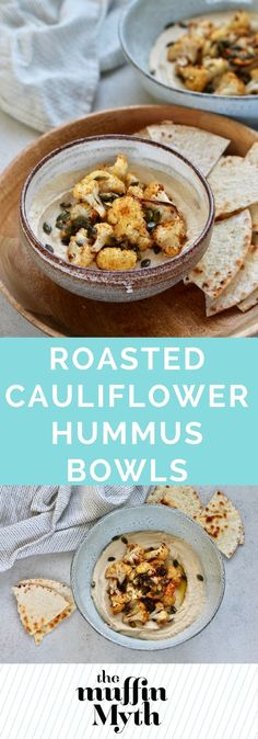 Roasted Cauliflower Hummus Bowls are perfect for lunch, a snack, or a party platter! Protein-packed hummus topped with roasted cauliflower and toasted pumpkin seeds for a deliciously different meal.  #vegan #glutenfree #plantbased #hummus