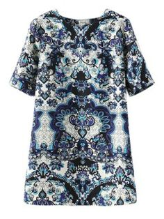 Shift Dress With Blue And White Porcelain Print