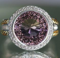 MEN'S 12.76 cts AMETRINE(Millennium Cut) & WHITE SAPPHIRE RING SOLID 14K & 925SS  GORGEOUS HANDMADE 5 PIECE CASTING!! ABSOLUTELY STUNNING