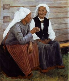 PaintingDb view of Old Women at Ruokolahti / Ruokolahden Eukkoja by Edelfelt, Albert. Vincent Van Gogh, Joseph, North Europe, Pre Raphaelite, Reproduction, Historian, Old Women, Great Artists, Les Oeuvres