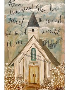 CHURCH PAINTING, WORDS, Amazing Grace, Cotton field, farmhouse decor, cotton boll decor, church print, cotton field,Christian art, rustic