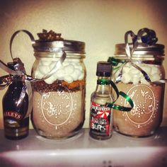I did it! Caramel hot cocoa with Baileys, candy cane cocoa with peppermint schnapps....Mommy cocoas!!! nommms!!!!  *14tbs instant hot cocoa powder *1/8-1/4 cup crushed werthers originals or crushed candy canes (caramel vs peppermint...decisions!!) *2tbs mini chocolate chips  Marshmallows Pint mason jars  Mix the hot cocoa powder, crushed candies together and pour into jar, reserving 1tsp of crushed candy. Sprinkle choc chips on top of cocoa mix in jar. Sprinkle reserved candies on top of…
