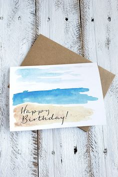Watercolor Birthday Cards, Birthday Card Drawing, Watercolor Cards, Beach Watercolor, Watercolour, Karten Diy, Beach Cards, Paint Cards, Happy Birthday Cards