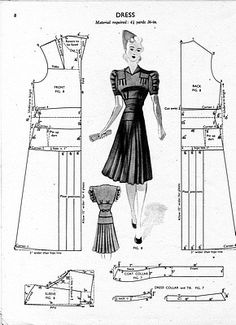 Free Vintage Dress Sewing Draft Pattern