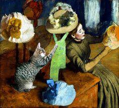 Cat Art Print Cat in Degas Hat Shop by DeborahJulian on Etsy, $20.00