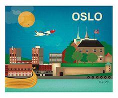 Affiche Oslo papier tissé, Multicolore - L26