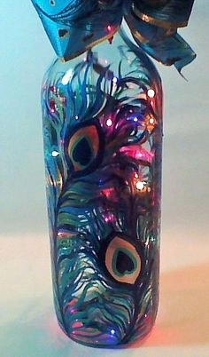 Hand Painted Wine Bottle Lamp with Colorful Peacock Feather Design