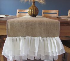 burlap table runner with chiffon ruffles